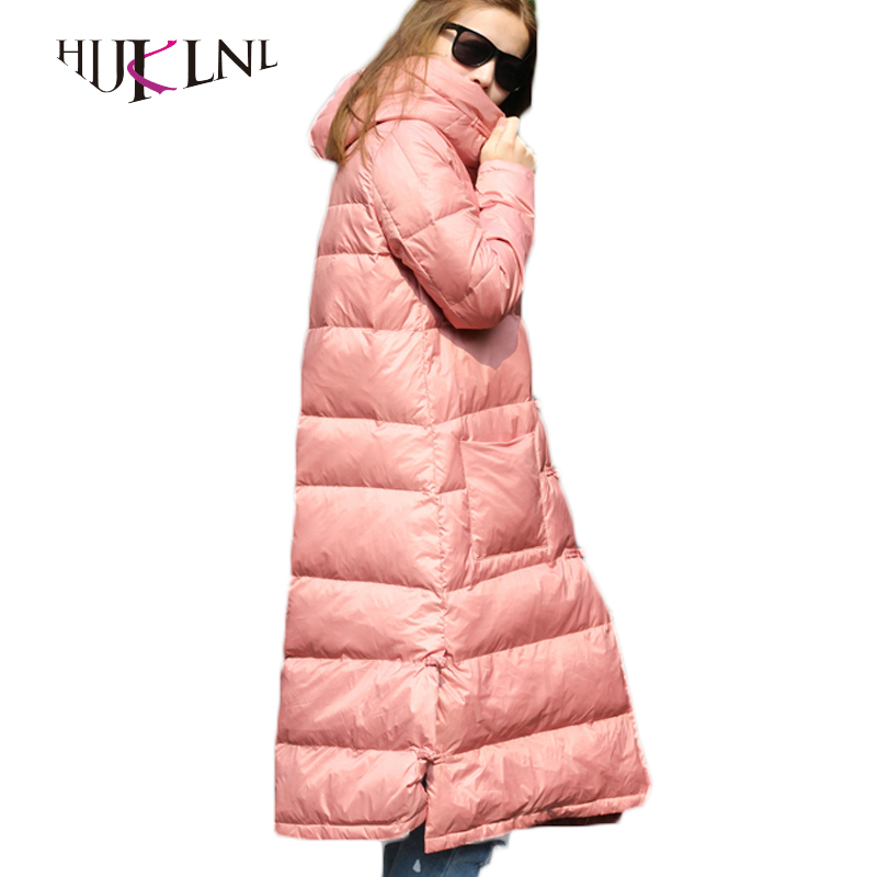 HIJKLNL Winter Long   Down     Coats   2017 New Women   Down   Jackets Thick Female Hooded   Down   Warm   Down   Parkas With Buckle Hiver LZ537