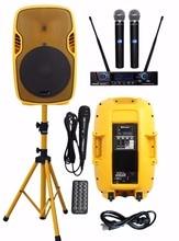 STARAUDIO 15″ 3500W Powered Active PA DJ Stage Party Bluetooth Speaker W/ 2CH UHF LCD IR Mic 1 Wired Mic 1 Speaker Stand SSYM-15