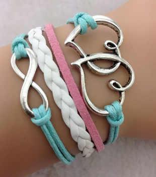 1 piezas infinito pulsera-corazón a corazón pulsera, plata antigua, pulsera para las muchachas, azul blanco rosa pulsera del encanto, 704