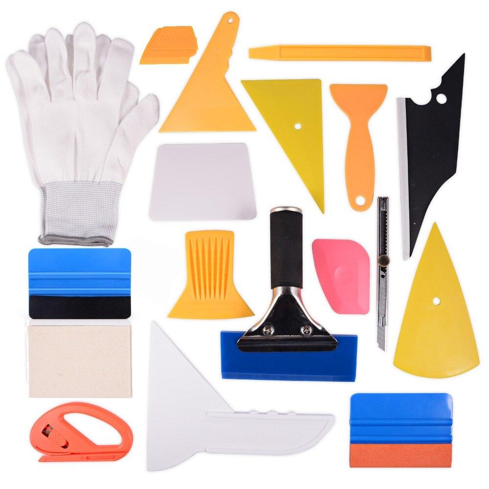 EHDIS 18 pièces housse de voiture en vinyle outil ensemble Auto fenêtre teinte outils en caoutchouc raclette grattoir Art couteau gants pour voiture emballage teinte