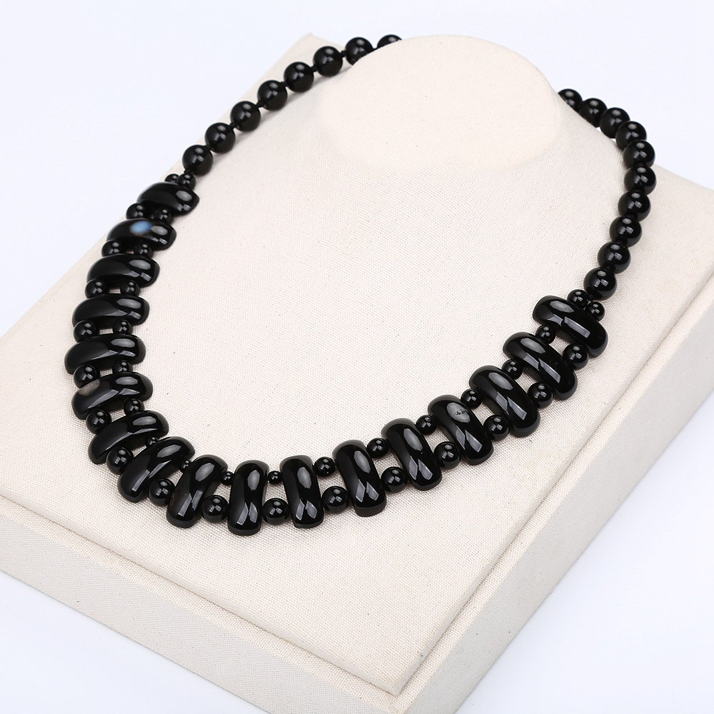Black Agate Obsidian Natural Stone Necklace Crystal Fashion Women Bead Chain Popular Classic Pendant Exquisite Jewelry Amethyst stylish natural black agate necklace 43cm