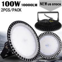 Industrial Warehouse Led High Bay Lamp 110V 220V2PCS Ultraslim 100W UFO LED High Bay Lights Waterproof IP65 Commercial Lighting цены