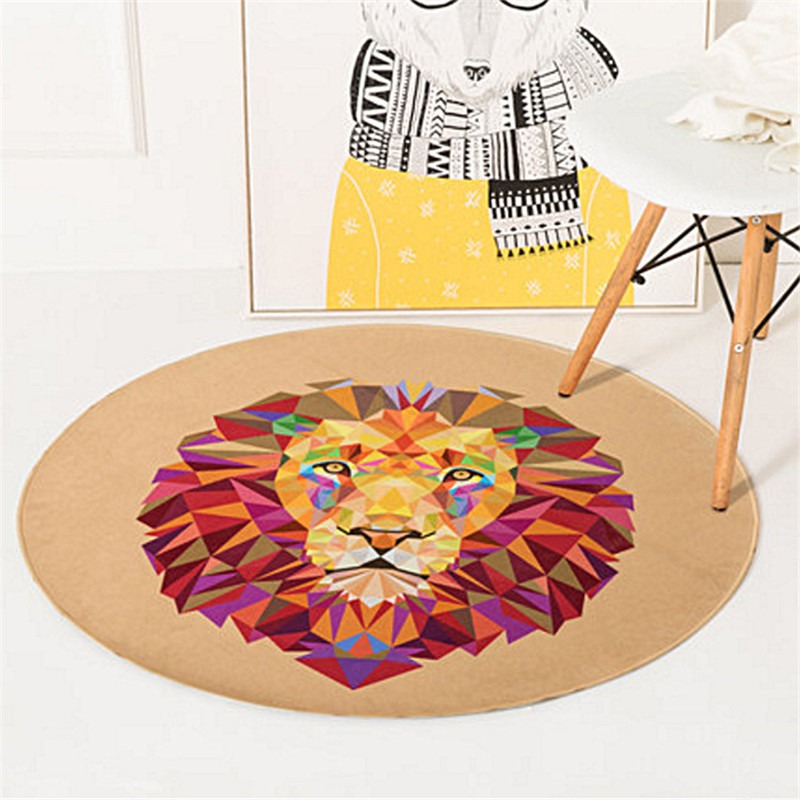Round Carpet Lion Fox Cat Printed Soft Carpets Anti-slip Rugs Crystal velvet Computer Chair Mat Floor Mat Home Kids Room R600