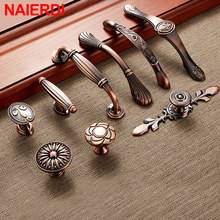 NAIERDI Red Bronze Series Cabinet Handles Zinc Alloy Antique Pulls Drawer Knobs Wardrobe Door Handle Furniture