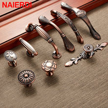 NAIERDI Red Bronze Series Cabinet Handles Zinc Alloy Antique Cabinet Pulls Drawer Knobs Wardrobe Door Handle Furniture Handle