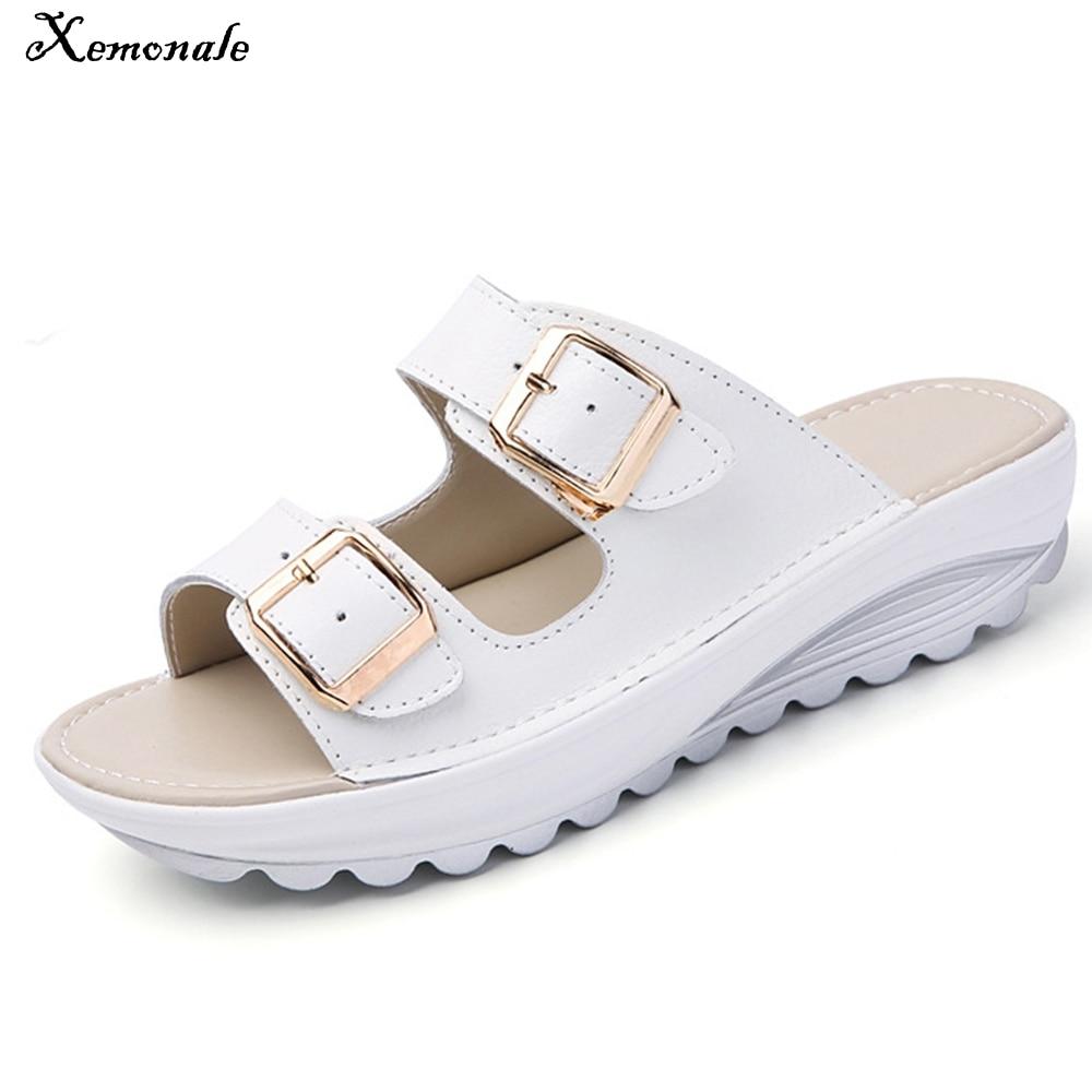 Xemonale Summer Women Sandals Shoes Platform Leather Buckle Flats Light Soft Ladies Casual Heel Comfortable Slides White Black