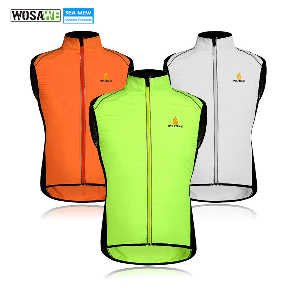 WOLFBIKE Cycling Gilet Sportswear Windproof Clothing Wind coat Breathable Bike Jersey Sleeveless Cycling Reflective Vests
