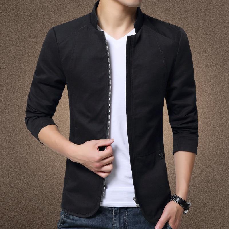 New brand men spring autumn casual jacket men's Slim fit cottoon jacket and Men Coat Stander Collar Jacket Veste Homme M-5XL