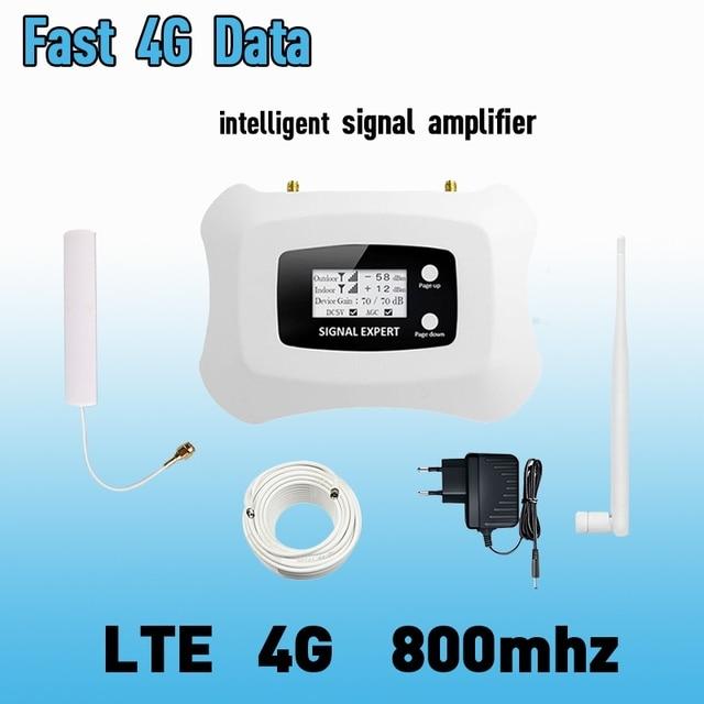 4G LTE 800mhz להקת 20 70dB טלפון סלולרי אות מגבר נייד מגבר LTE 800 נייד מהדר 4G booster אנטנת סט