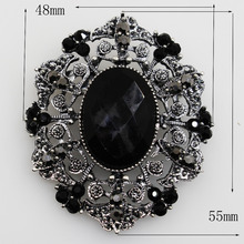 Модное черное свадебное украшение Овальный 48*55 мм Цветок Броши Стразы ювелирные изделия кристалл броши для одежды шарф аксессуары