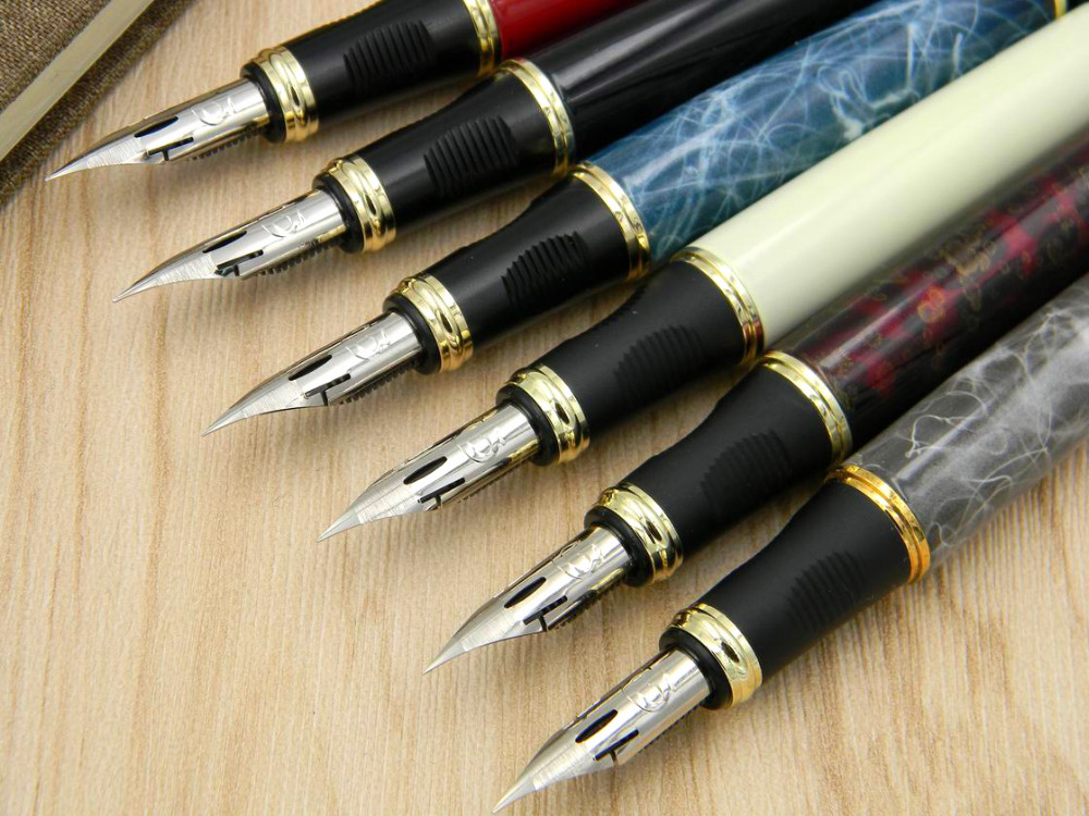 JINHAO 450 G NIB metal GOLDEN Modified calligraphy Round Body Flower body English Fountain Pen
