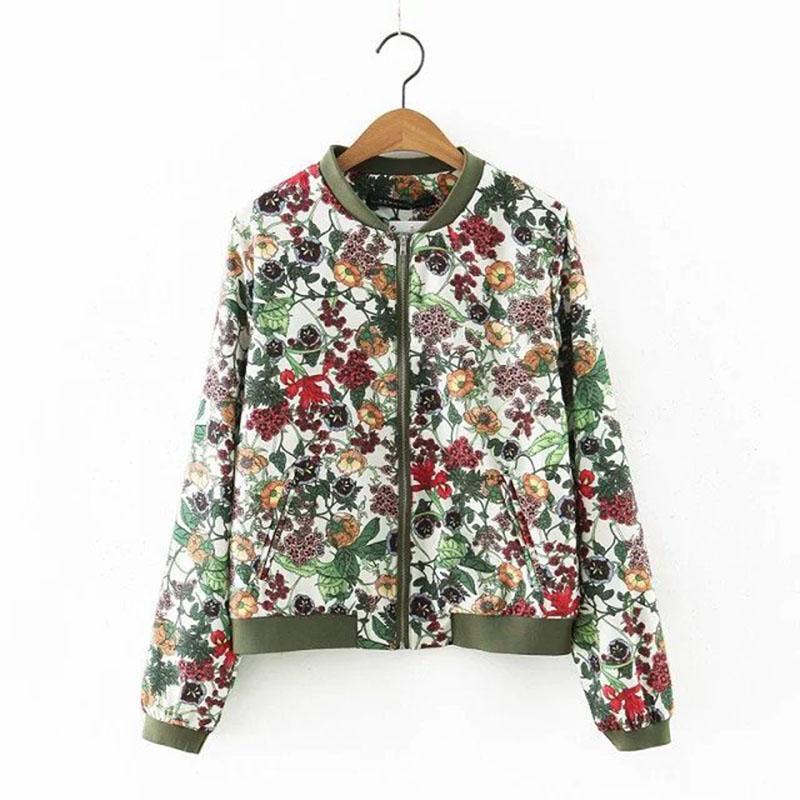 a806cf94c Floral Printed Ladies Jackets Slim Spring Pockets Zipper Office ...