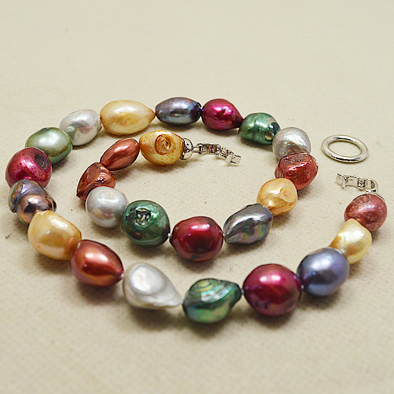 Unique Pearls jewellery Store Big Size 12-18MM Multicolor Freshwater Pearl Necklace Bracelet  Earrings Jewelry Set Women GiftUnique Pearls jewellery Store Big Size 12-18MM Multicolor Freshwater Pearl Necklace Bracelet  Earrings Jewelry Set Women Gift
