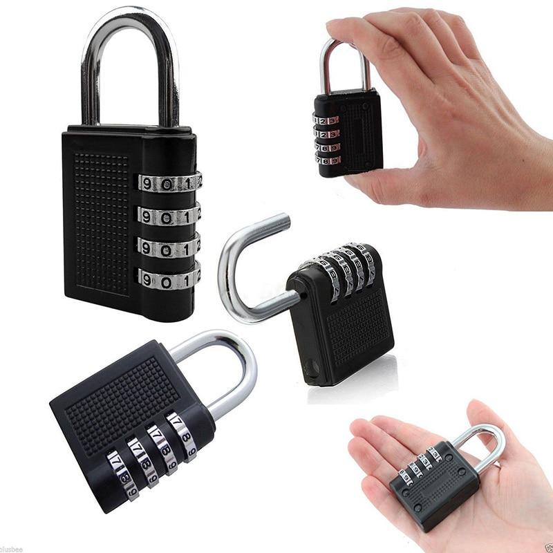 Black 4 Digit Combination Padlock Number Luggage Travel Code Lock Luggage Lock Lockers Keyed Padlock Box Lock in Locks from Home Improvement