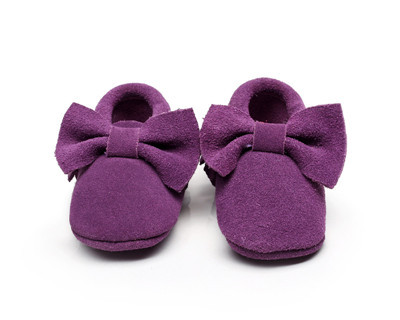 10colors New Suede Genuine Leather Newborn Baby Infant Toddler Moccasins bow Soft Moccs Shoes Soft Soled Non-slip Prewalker Shoe