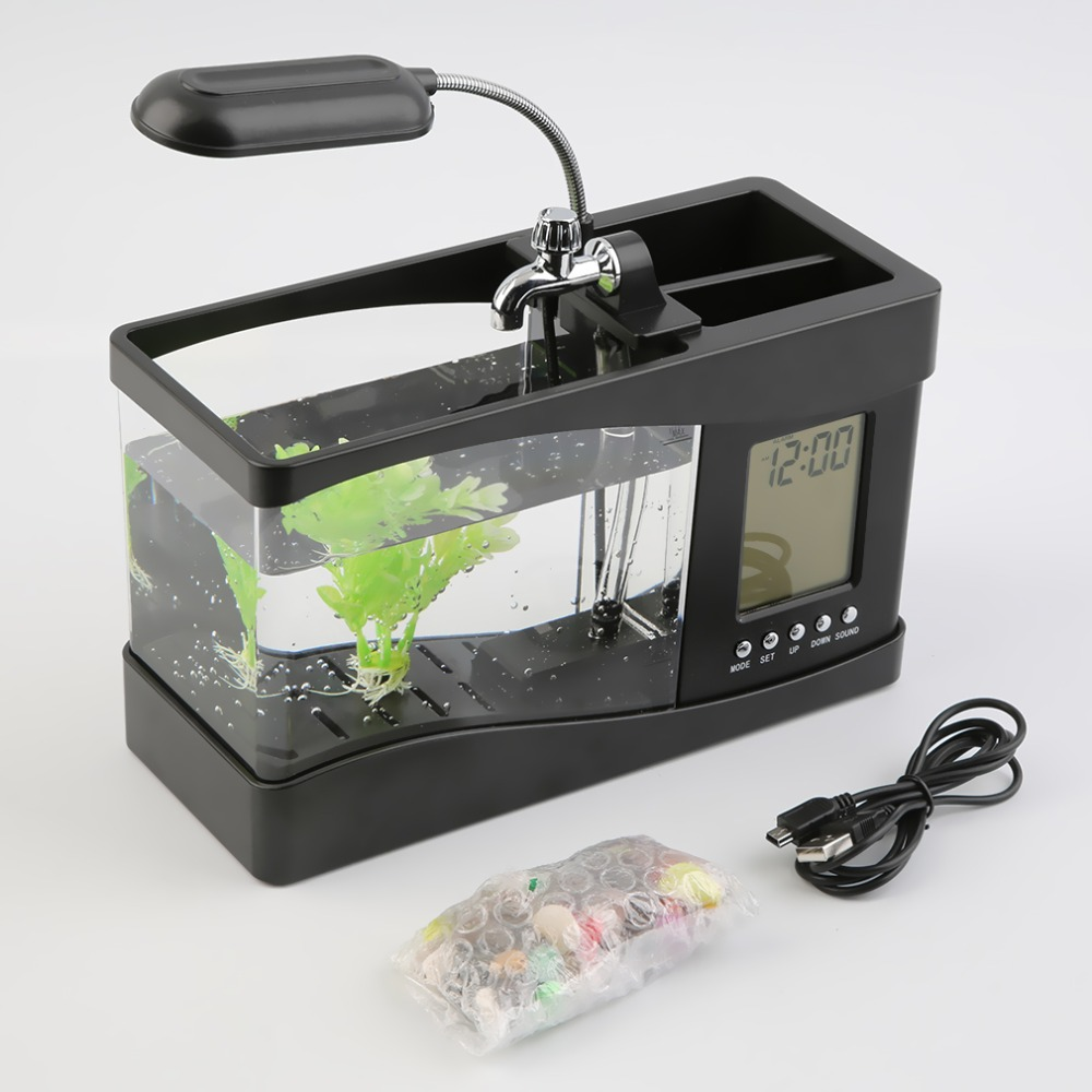 Popular New USB Desktop Mini Fish Tank Aquarium LCD Timer Clock LED Lamp Light Black Dropshipping