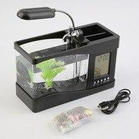 Popular New USB Desktop Mini Fish Tank Aquarium LCD Timer Clock LED Lamp Light Black Dropshipping