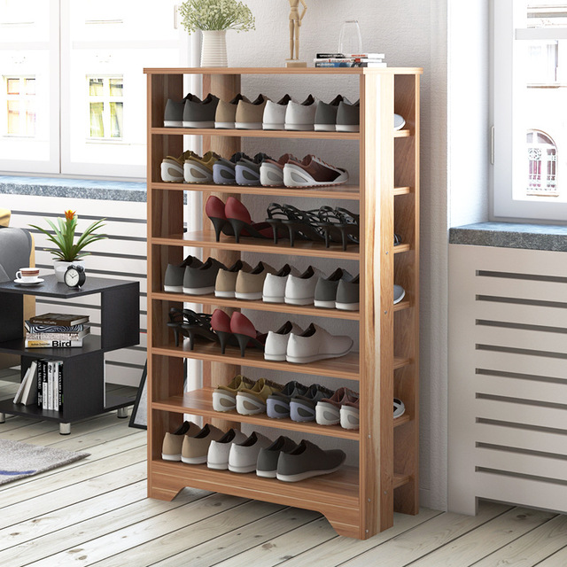Lk607 Large Capacity Multi Layer Storage Cabinet Multifunctional Dustproof Shoes Shelf Thicken Wooden Rack