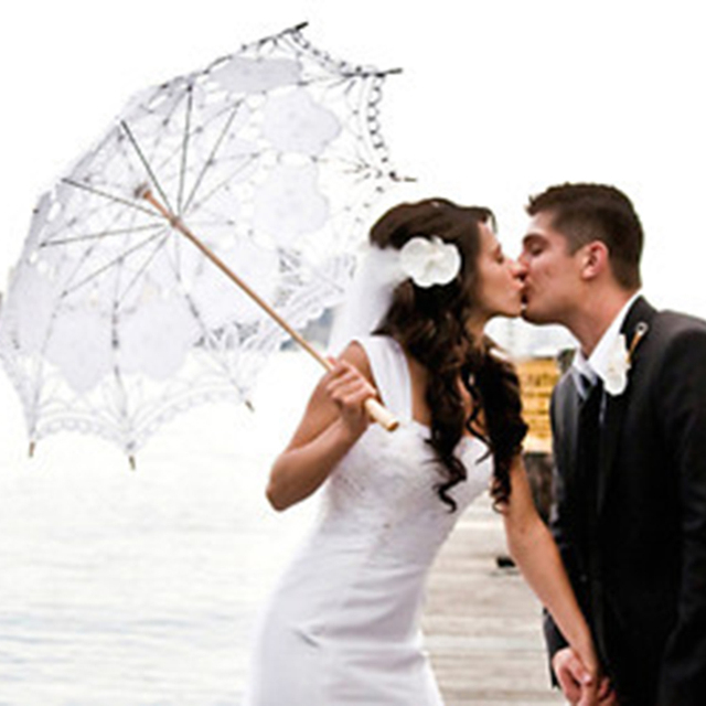 Fashion Lace Umbrella Cotton Embroidery Wedding Parasol White Ivory Battenburg Costume Accessory Hg0130