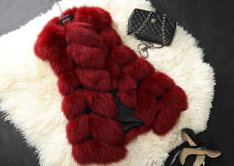 Высококачественная меховая жилетка, роскошное пальто из искусственного лисьего меха, теплое Женское пальто, жилетки, Зимняя мода, меховые женские пальто, куртка, жилетка, жилет, 4XL - Цвет: Dark red
