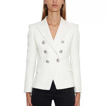 HIGH QUALITY Newest Fashion 2019 Designer Blazer Women's Silver Lion Buttons Double Breasted Blazer Jacket - DISCOUNT ITEM  30% OFF All Category