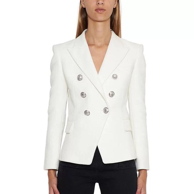 HIGH QUALITY Newest Fashion 2020 Designer Blazer Women's Silver Lion Buttons Double Breasted Blazer Jacket