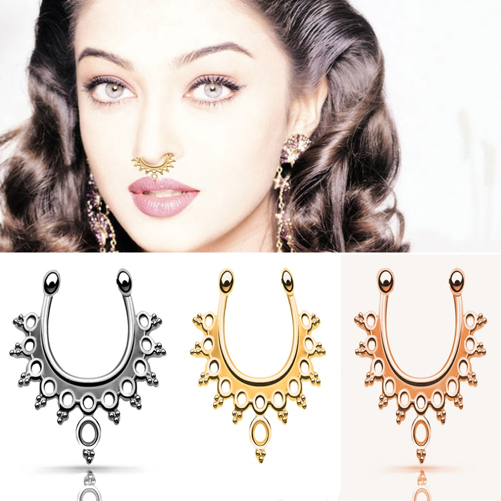 Fashion Dainty Beads C Clip Nose Fake Piercing Jewelry Gold Silver