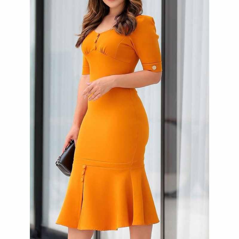 Женское облегающее платье, элегантное, офисное, сексуальное, с рюшами, Русалочка, винтажное, тонкое, оранжевое, модное, с высокой талией, летнее, для девушек, рабочая одежда, платье миди