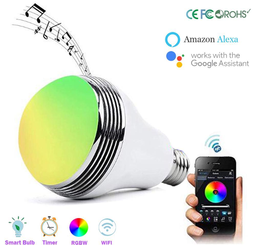 Ampoule LED intelligente haut-parleur Bluetooth, 7 W E27 RGB changeant la lampe de musique sans fil Smartphone contrôle LED Dimmable APP télécommande