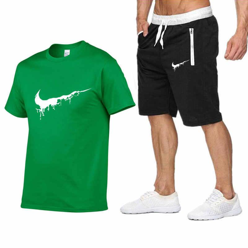 Качественные мужские комплекты футболки + Брендовые мужские шорты одежда костюм из двух предметов спортивный костюм модные повседневные футболки спортивные залы тренировка набор для фитнеса
