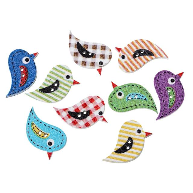 DoreenBeads Wood Sewing Button Scrapbooking Bird At Random 2 Holes 27.0mm(1 1/8″)x 17.0mm( 5/8″),10 PCs 2016 new