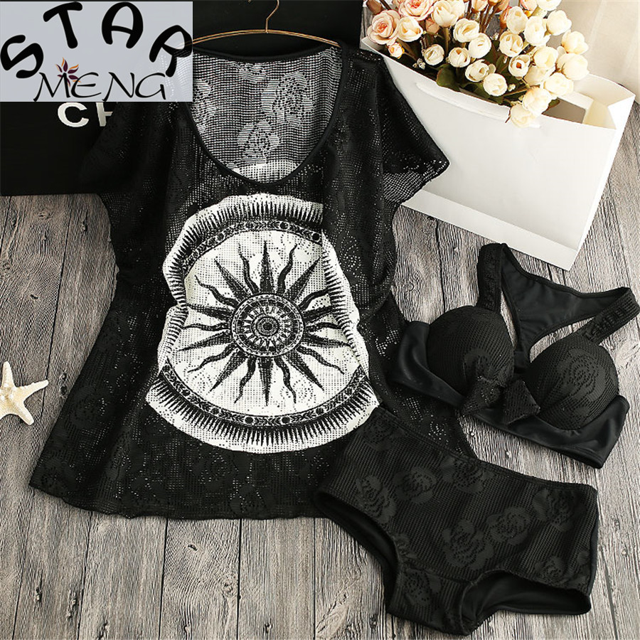 STAERK 2017 Rushed The Sun Goddess Bikinis Three Piece Swimsuit Sexy Female Small Chest Thin Blouse Gather Steel Support Spa the undomestic goddess