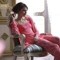 Novo 2016 Primavera E No Outono 100% Pijama de Algodão para As Mulheres Pijama Camisola Marca Três-Peça de Roupa Em Casa Sleepwear Nobre pijama