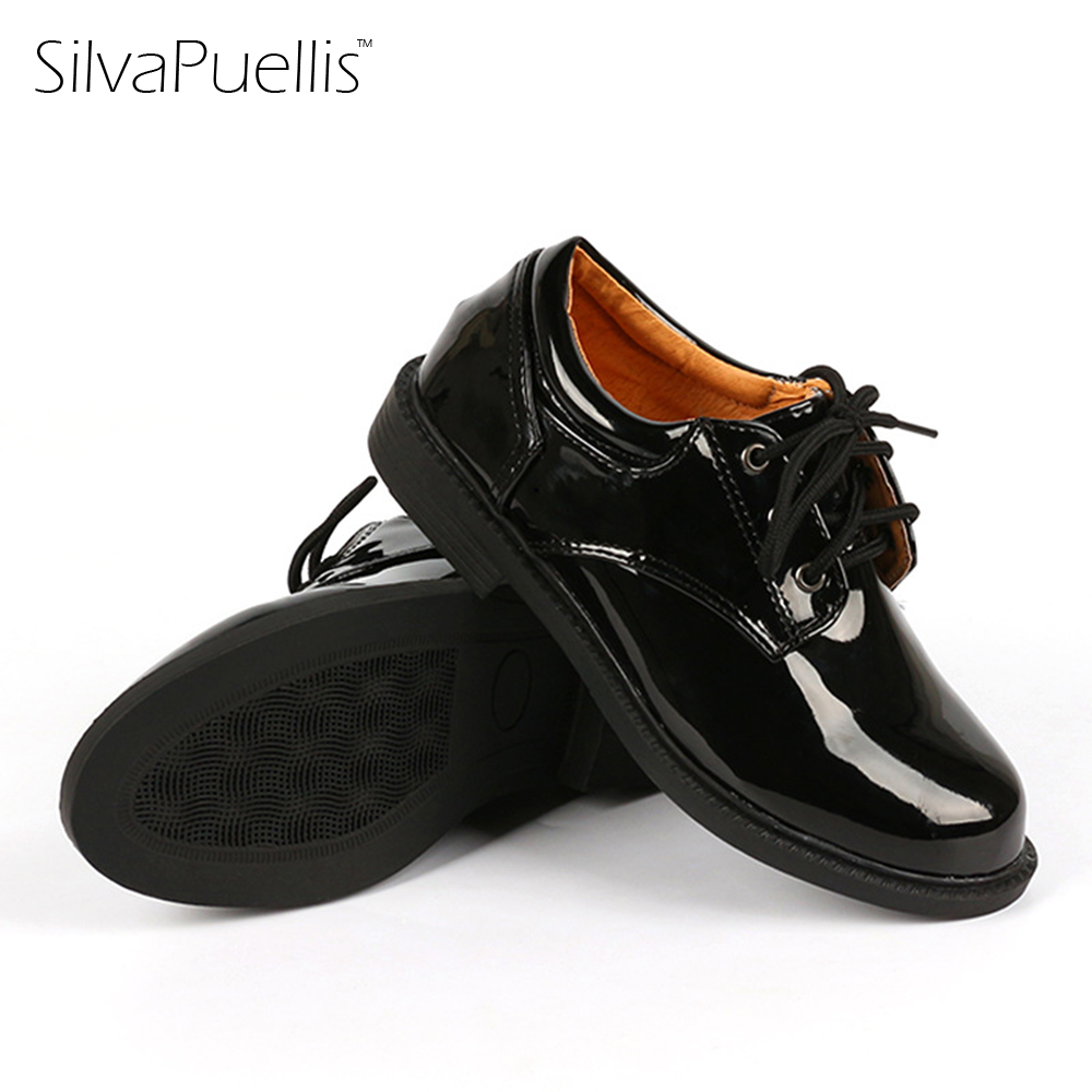 SilvaPuellis 2017 Childrens Black White PU Leather Dress Shoes Boys Lace-Up Flat Shoes Kids School Party Performance Shoes ...