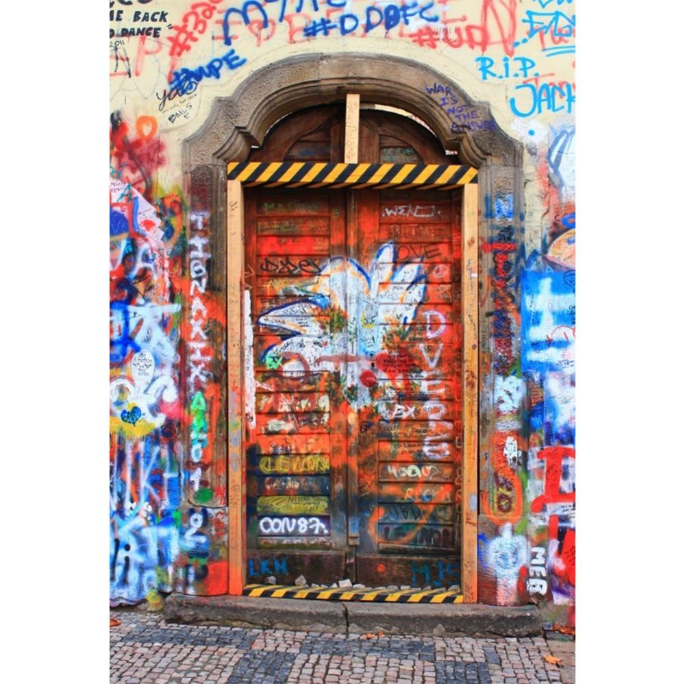 Laeacco Fade Graffiti arche porte scène bébé photographie arrière-plan personnalisé photographique vinyle Photocall toile de fond pour Studio Photo