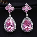 Fashion CC Brand Jewelry Four Leaf Flower Pear Cut Crystal Pink Stone Paved Big Dangling Drop Earrings For Women E099