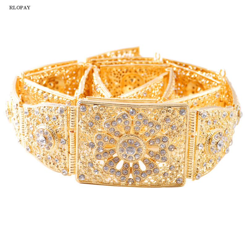 Fashion gold belt for long gown metal belts with crystals top quality ladies waist chain
