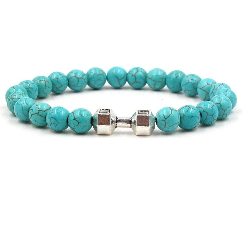 2018 new Sports fitness charm bracelet dumbbell male and female energy lava stone beads bracelet