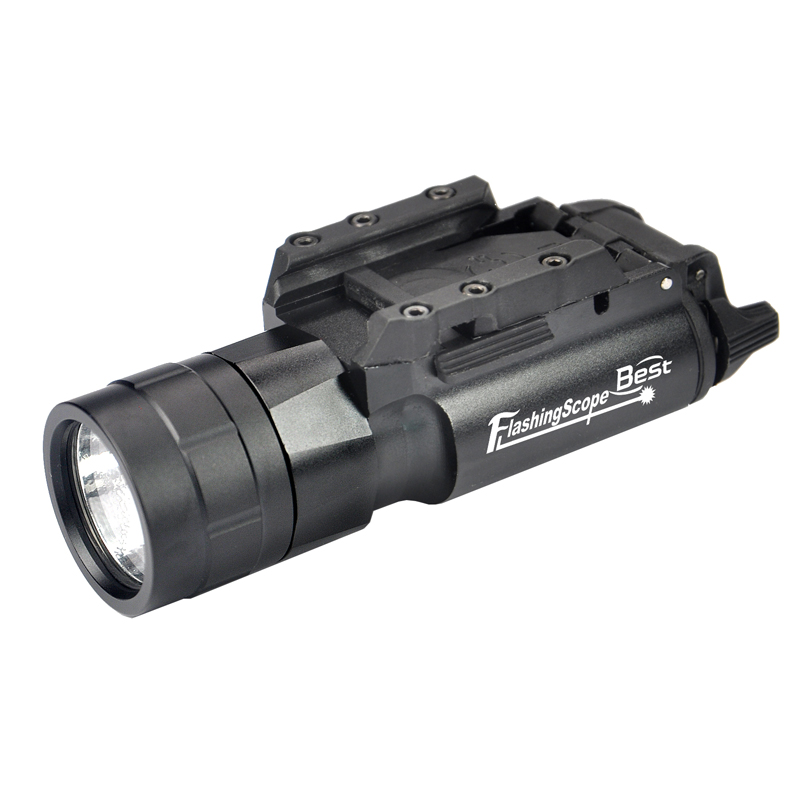 High-strength Aluminum CREE LED 500 Lumen Tactical Flashlight With Picatinny Rails For Hunting Rifle Matt Black.