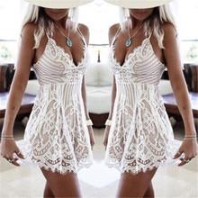 Sexy Women Summer Sleeveless Lace Dress Evening Party Mini Dress 2017 Hot Selling Ladies Summer Dress