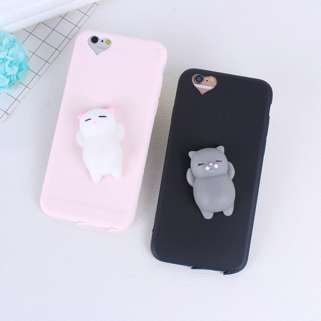 new concept 64058 0de61 US $0.78 27% OFF|Cute 3D Squishy Phone Case For iphone 7 7 plus 8 8 plus  Case Cover Soft Silicone Squeeze Toys Cat Bags For iphone 5 5s 5se 6 6s-in  ...