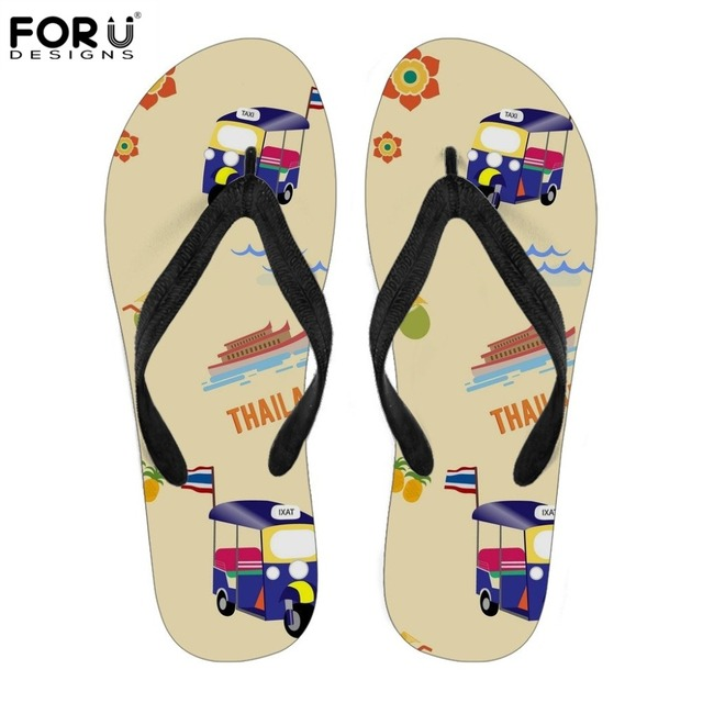 1cc8bbaeddd057 FORUDESIGNS Novelty Taxi Car Thailand Pattern Women Flip Flops Shoes Woman  Summer Women s Home Slippers for Ladies Flip Flops