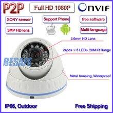 IMX322 Sensor 2.0MP CCTV camaras de vigilancia ip ONVIF 2.4 1080 p cámara ip 3MP HD Lente de Seguridad, 24 unids LED, H.264, IR-CUT, P2P