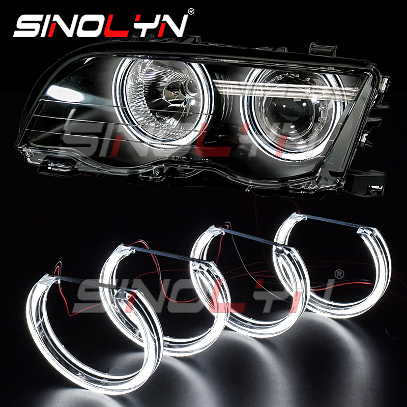 Led Angel Eyes Drl Halo Lights Dtm Style For Bmw 3 Series E46 M3 E39 E36 Halogen Xenon Projector Headlight Accessories Tuning