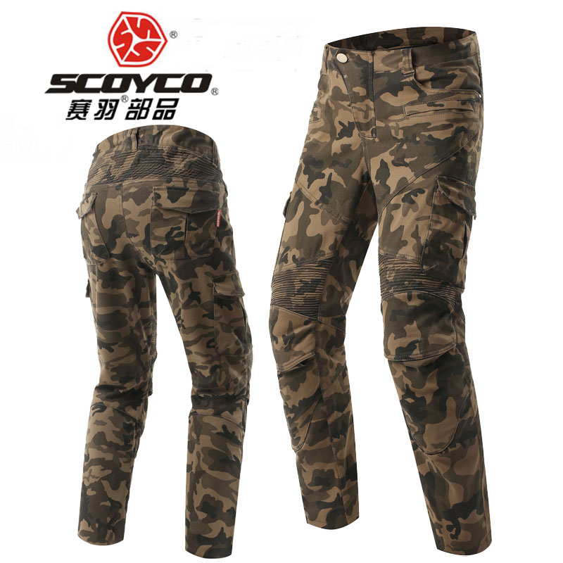 SCOYCO motorcycle riding jeans Stretch camouflage locomotive trousers Anti-breaking Retro casual knight pants Camouflage color