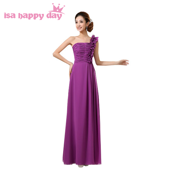 multi color One-shoulder chiffon special occasions purple royal blue red yellow formal violet dress prom long dresses W007