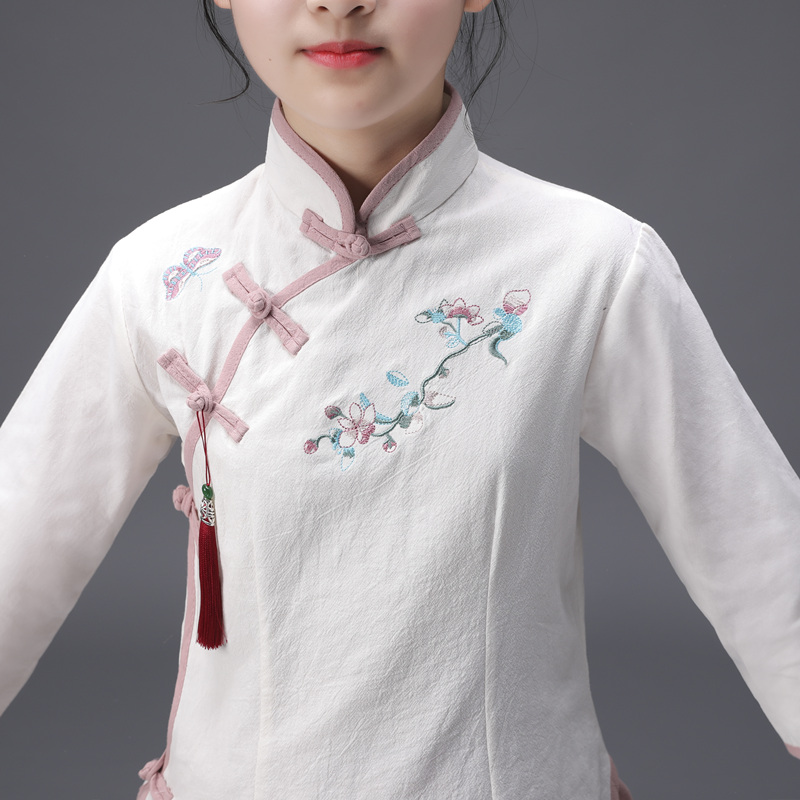 HAIJINMINGWEN children 39 s clothing Hanfu suit baby cotton and linen Chinese Tang suit girls national summer and autumn