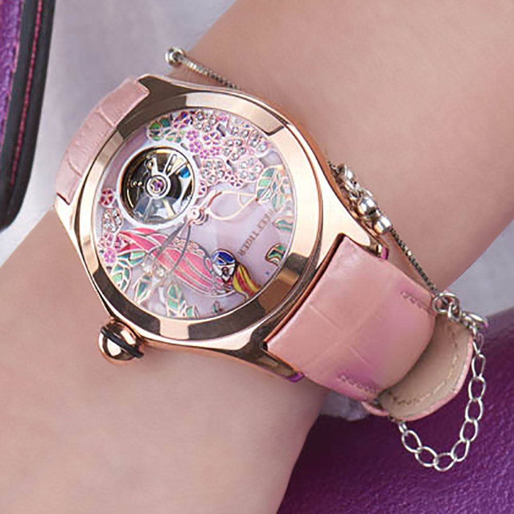 Image 3 - Reef Tiger Top Brand Luxury Women Watches Pink Dial Leather Strap Mechanical Watch Rose Gold Fashion Watch reloj mujer RGA7105Womens Watches   -