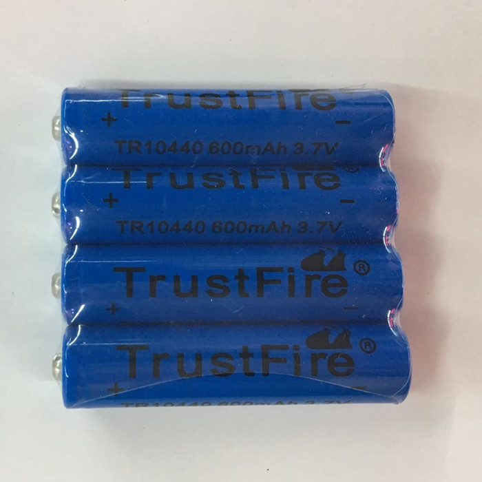 50pcs/lot TrustFire 3.7V TR10440 600mAh 10440 Li-ion Battery Rechargeable Batteries for LED Flashlights Headlamps