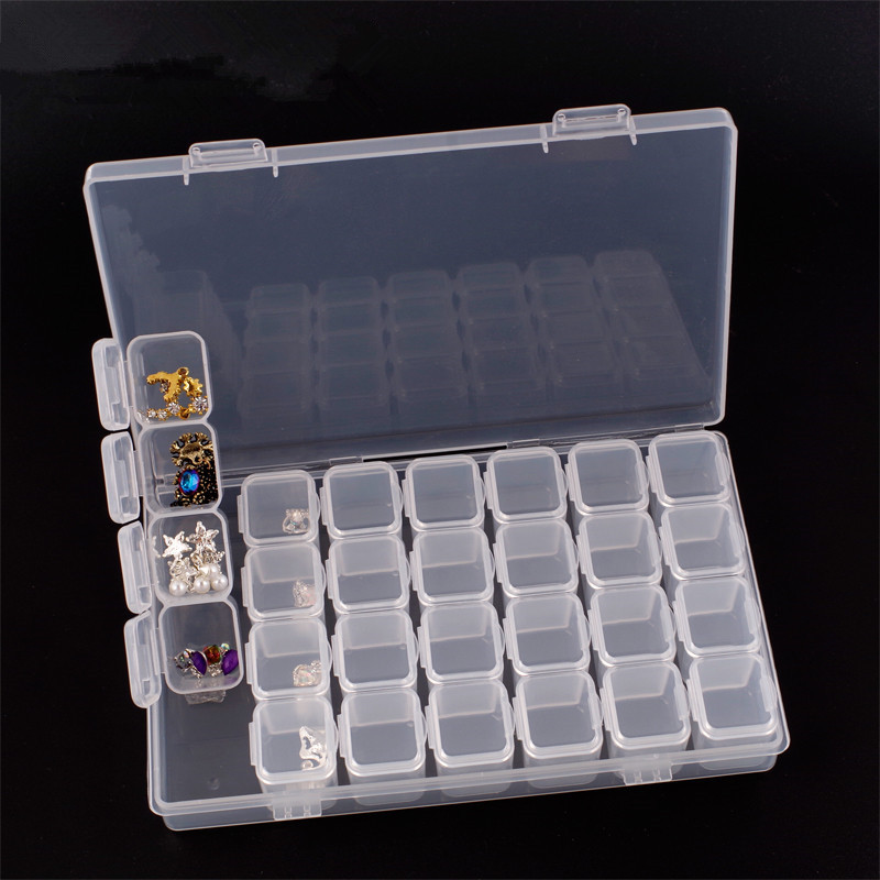 28 grids makeup organizer Adjustable Plastic box Jewelry Storage Boxes bins square seal Organizer Beads organizador de maquillaj